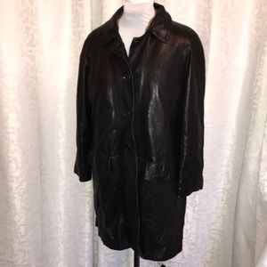 Vera Pelle rabbit fur lined black leather coat L44